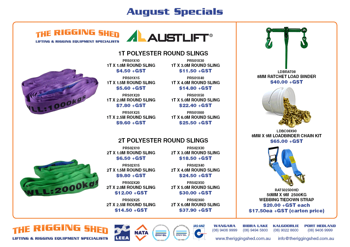 august specials TRS the rigging shed