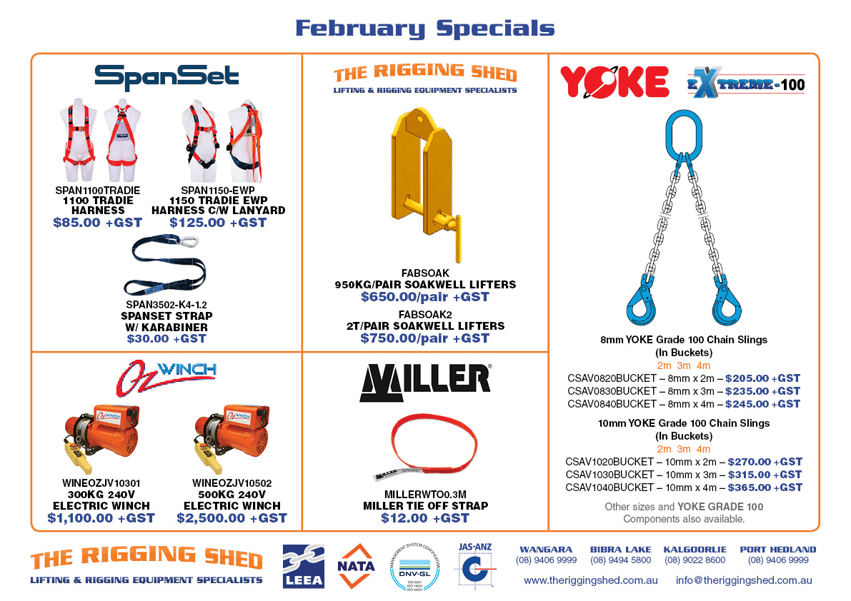 TRS the rigging shed february specials